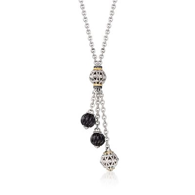 "Andrea Candela ""La Corona"" Black Onyx Tassel Necklace in 18kt Yellow Gold and Sterling Silver"