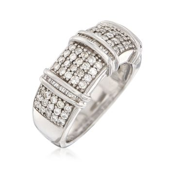 .98 ct. t.w. Baguette and Round Diamond Multi-Row Ring in Sterling Silver, , default