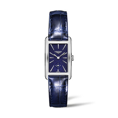 Longines Dolcevita Women's 23x37mm Stainless Steel Watch with Blue Leather