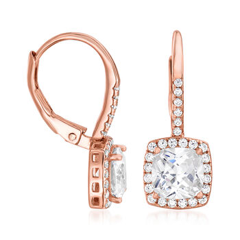 2.25 ct. t.w. CZ Square Drop Earrings in 18kt Rose Gold Over Sterling