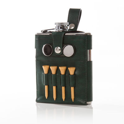 Brouk & Co. Green Faux Leather Hip Flask with Golfing Accessories, , default