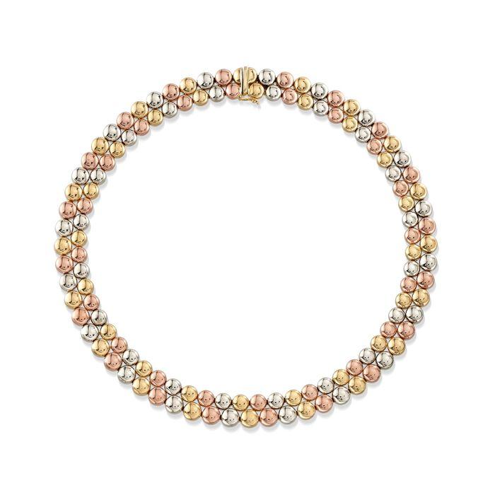 """C. 1990 Vintage 18kt Tri-Colored Gold Double-Bead Necklace. 16.5"""", , default"""