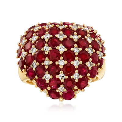 C. 1990 Vintage 5.97 ct. t.w. Ruby and .43 ct. t.w. Diamond Heart Ring in 18kt Yellow Gold, , default