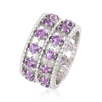 "Andrea Candela ""Cava"" 2.20 ct. t.w. Amethyst Double-Row Ring in Sterling Silver, , default"