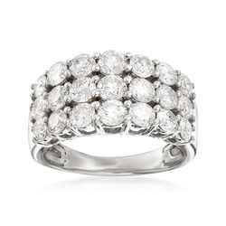 3.00 ct. t.w. Diamond Three-Row Ring in 14kt White Gold, , default