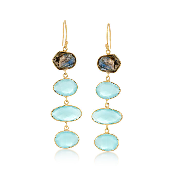 Blue Chalcedony and Labradorite Linear Drop Earrings in 18kt Gold Over Sterling
