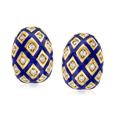 C. 1980 Vintage 1.00 ct. t.w. Diamond and Blue Enamel Earrings in 18kt Yellow Gold
