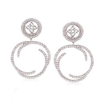 .50 ct. t.w. Diamond Swirl Drop Earring Jackets in 14kt White Gold, , default