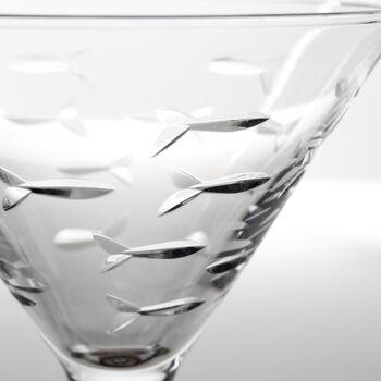 "Rolf Glass ""School of Fish"" Set of 4 Martini Glasses, , default"