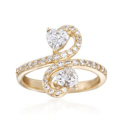1.43 ct. t.w. CZ Two-Stone Heart Ring in 14kt Yellow Gold, , default