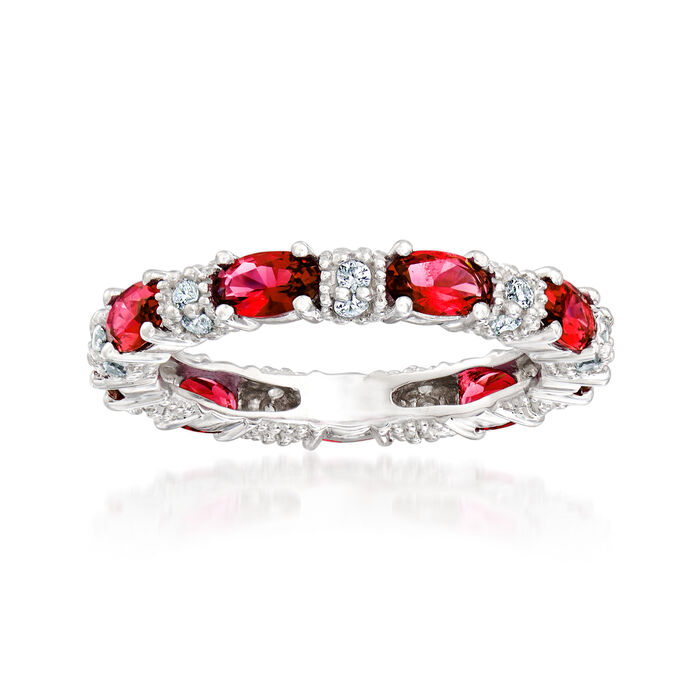 1.20 ct. t.w. Simulated Ruby and .30 ct. t.w. CZ Eternity Band in Sterling Silver