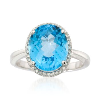 5.25 Carat Blue Topaz and .10 ct. t.w. Diamond Ring in 14kt White Gold, , default