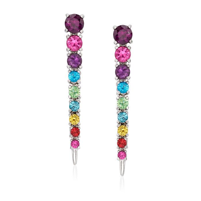 2.00 ct. t.w. Multicolored CZ Drop Earrings in Sterling Silver, , default