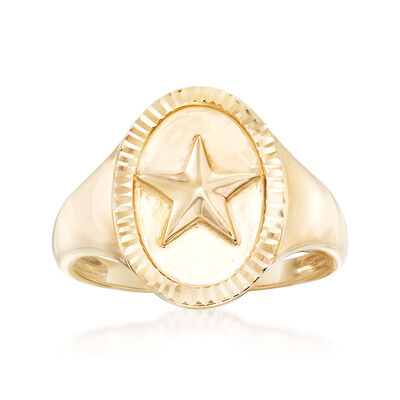 14kt Yellow Gold Star Signet Ring, , default