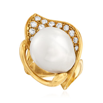 C. 1980 Vintage 15x13mm Cultured Baroque Pearl and .51 ct. t.w. Diamond Ring in 18kt Yellow Gold, , default