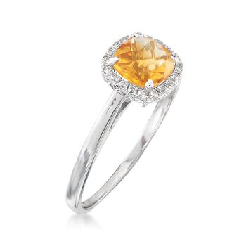 .80 Carat Citrine and .10 ct. t.w. White Topaz Ring Sterling Silver