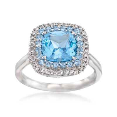 Gregg Ruth 3.20 ct. t.w. Blue Topaz and .20 ct. t.w. Diamond Ring in 18kt White Gold    , , default