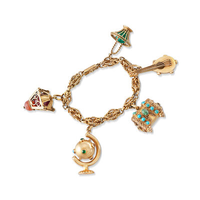 C. 1970 Vintage Multi-Gemstone Charm Bracelet in 18kt Yellow Gold