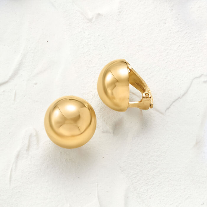 Italian 14mm 18kt Gold Over Sterling Dome Clip-On Earrings