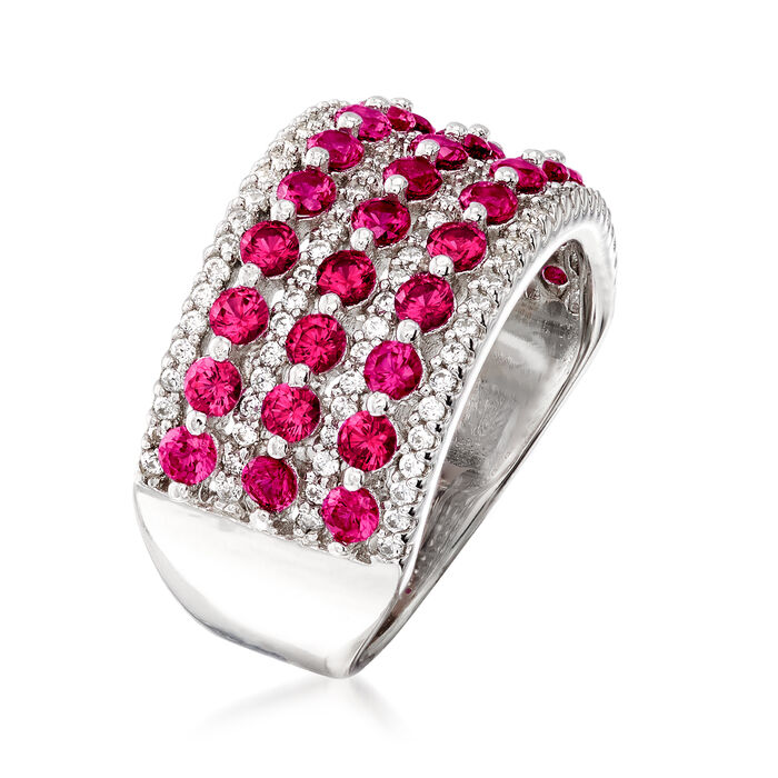 2.60 ct. t.w. Simulated Ruby and .54 ct. t.w. CZ Multi-Row Ring in Sterling Silver