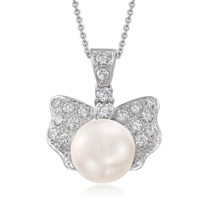 "C. 1990 Vintage 12x10mm Cultured Pearl and 1.35 ct. t.w. Diamond Bow Pendant Necklace in 18kt White Gold. 16"", , default"
