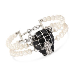 Italian Cultured Pearl and Black Enamel Panther Bracelet With .91 ct. t.w. CZs in Sterling Silver, , default