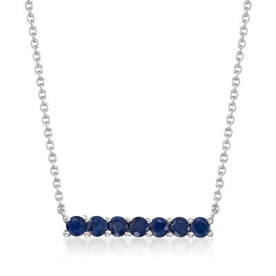 .80 ct. t.w. Sapphire Bar Necklace in Sterling Silver, , default