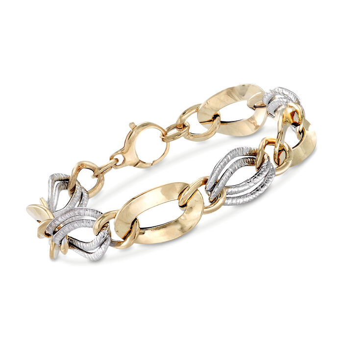 Italian 14kt Two-Tone Gold Textured and Polished Link Bracelet, , default