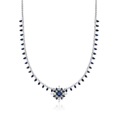 C. 1970 Vintage 3.95 ct. t.w. Sapphire and 1.20 ct. t.w. Diamond Necklace in 14kt and 18kt White Gold