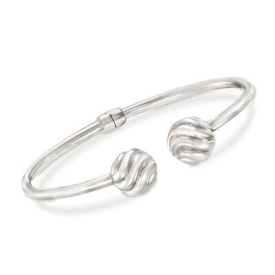 Sterling Silver Bead Cuff Bracelet, , default