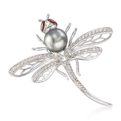 Cultured Tahitian Pearl and 1.00 ct. t.w. Multi-Gemstone Dragonfly Pin in Sterling Silver, , default