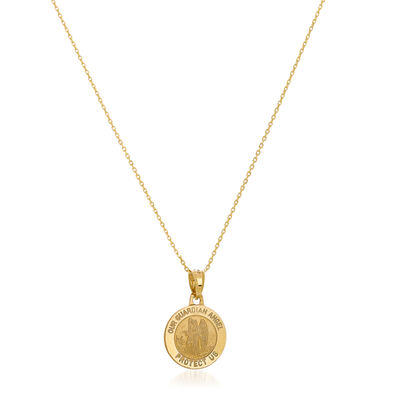 14kt Yellow Gold Guardian Angel Medal Pendant Necklace, , default