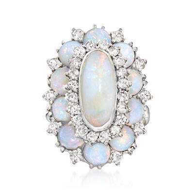 C. 1960 Vintage Opal and 1.20 ct. t.w. Diamond Ring in 14kt White Gold