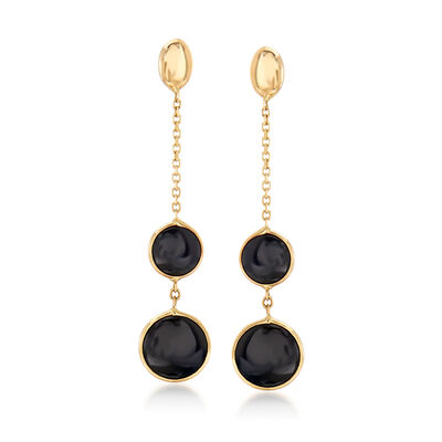 Italian Black Onyx Drop Earrings in 14kt Yellow Gold, , default