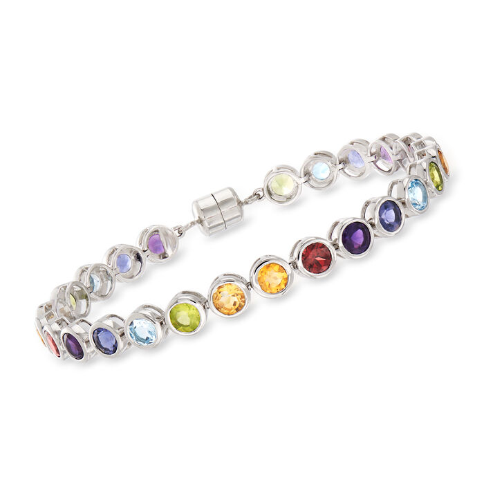 10.90 ct. t.w. Multi-Gemstone Bracelet  with Magnetic Clasp in Sterling Silver