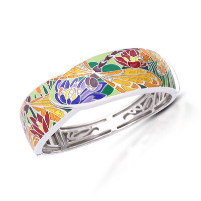 """Belle Etoile """"Dragonfly"""" Green and Gold Enamel Bangle Bracelet with CZ Accents in Sterling Silver"""