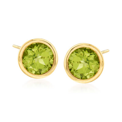 1.80 ct. t.w. Bezel-Set Peridot Stud Earrings in 14kt Yellow Gold, , default