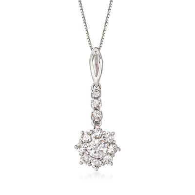 C. 1980 Vintage .85 ct. t.w. Diamond Flower Pendant Necklace in 14kt White Gold