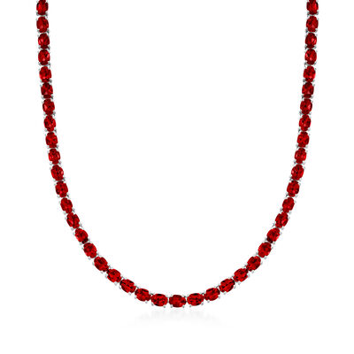 50.00 ct. t.w. Garnet Tennis Necklace in Sterling Silver