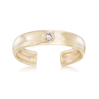 14kt Yellow Gold Toe Ring With CZ Accent, , default