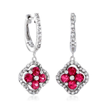 C. 2012 Vintage 1.00 ct. t.w. Ruby and .35 ct. t.w. Diamond Clover Drop Earring in 14kt White Gold