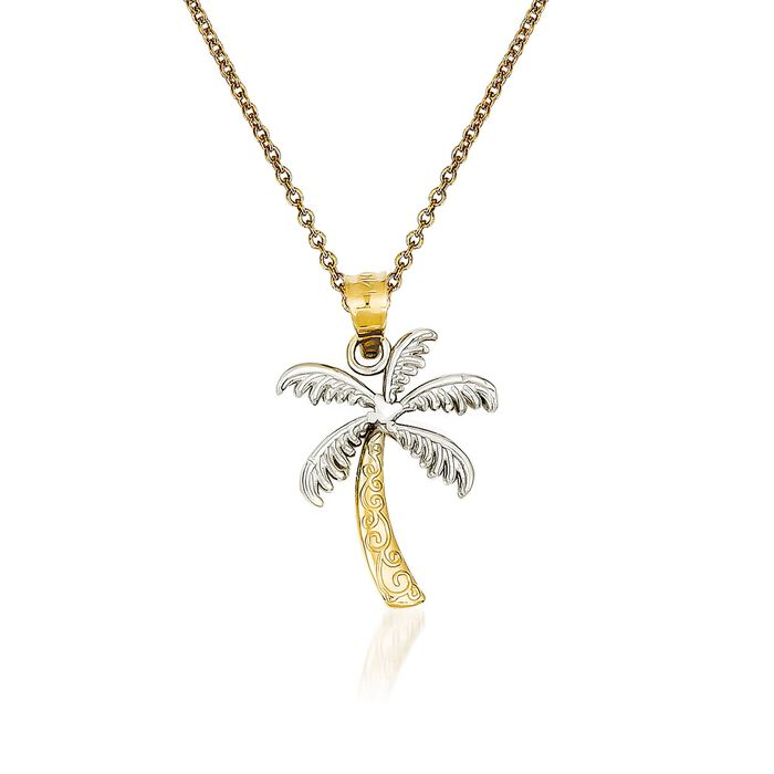 """14kt Yellow Gold Palm Tree Pendant Necklace. 18"""""""