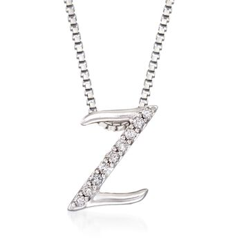 Sterling Silver Script Initial Pendant Necklace With Diamond Accents, , default