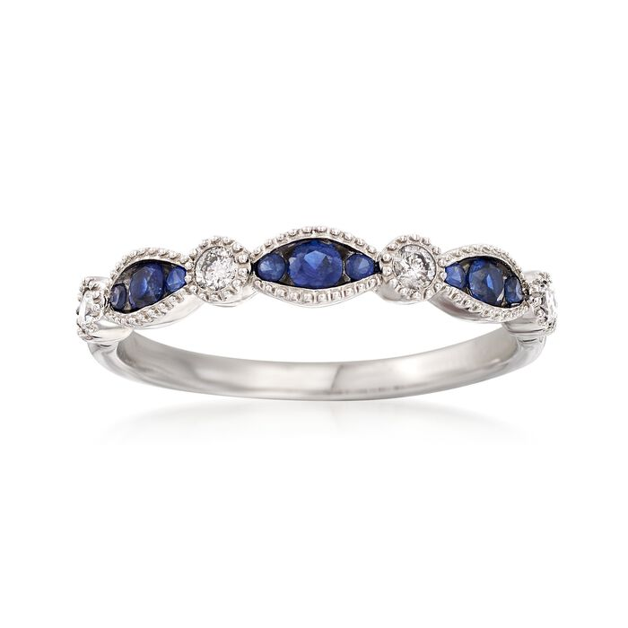 .17 ct. t.w. Sapphire and .12 ct. t.w. Diamond Ring in 14kt White Gold, , default
