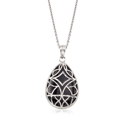 Black Onyx Pendant Necklace with Sterling Silver Overlay , , default