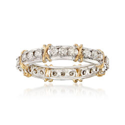 1.00 ct. t.w. Diamond X Eternity Band in Sterling and 14kt Gold, , default