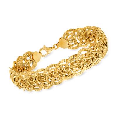 Italian 14kt Yellow Gold Interlocking-Link Bracelet, , default