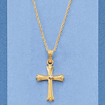 """Child's 14kt Yellow Gold Cross Pendant Necklace with Diamond Accent. 15"""""""