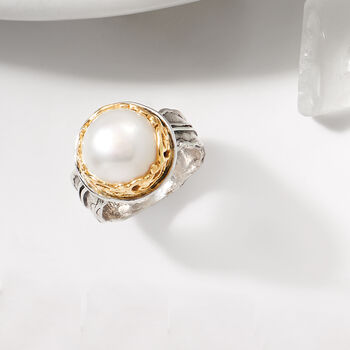 12mm Cultured Pearl Two-Tone Ring in Sterling Silver and 14kt Yellow Gold, , default