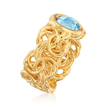 Italian Andiamo 14kt Yellow Gold and 2.30 Carat Sky Blue Topaz Byzantine Ring. Size 7, , default
